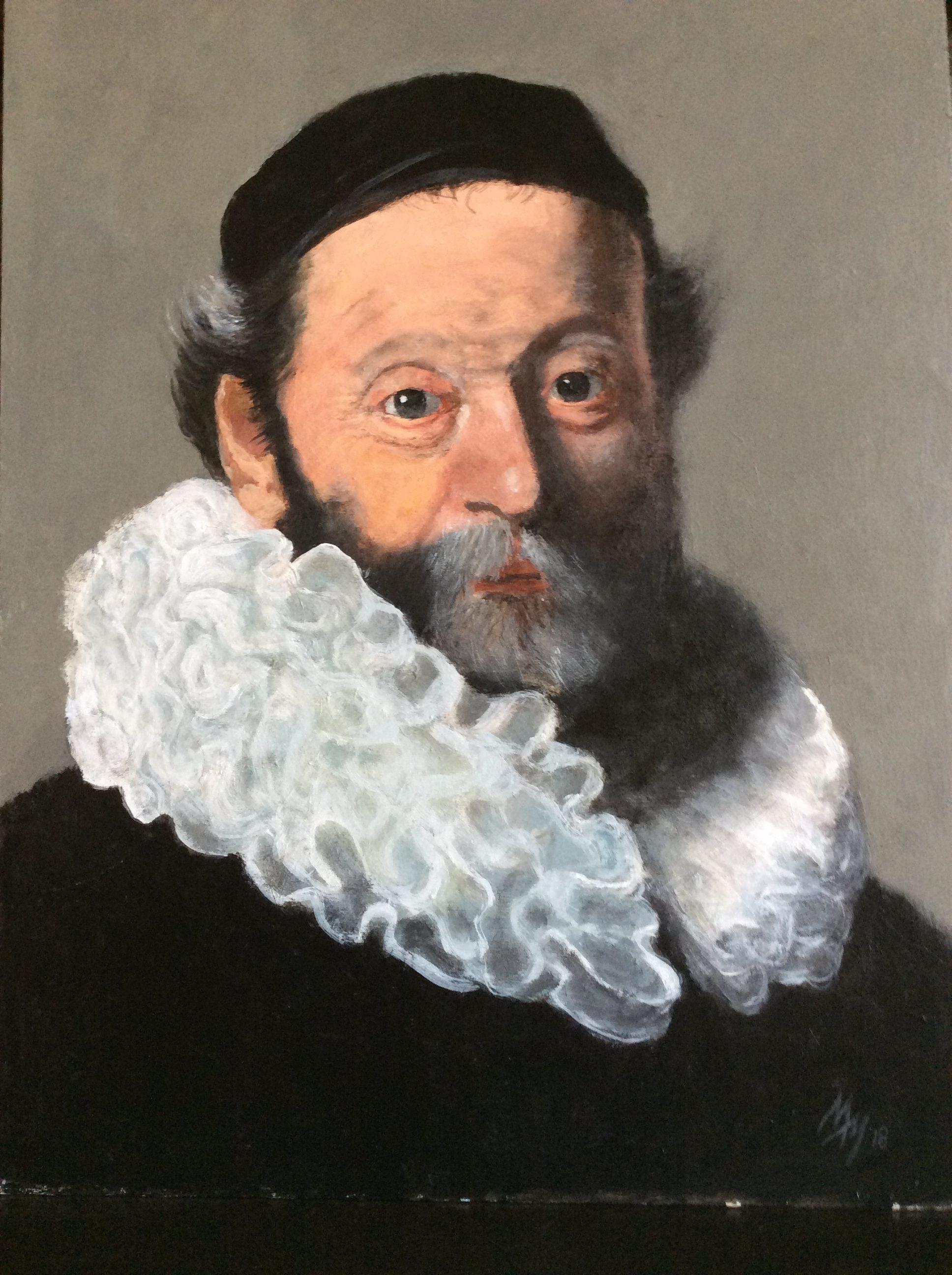 Dominee Wtenbogart 1644, in acryl, 48.5 x 35.5 cm